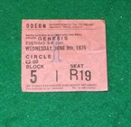 Genesis Odeon Hammersmith Ticket 1976